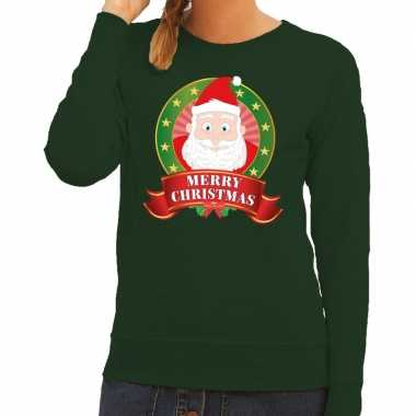 Foute foute kersttrui groen kerstman merry christmas voor dames