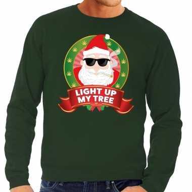 Foute foute kersttrui groen light up my tree voor heren