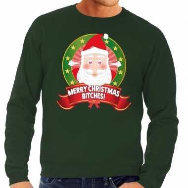 Foute foute kersttrui groen merry christmas bitches voor heren