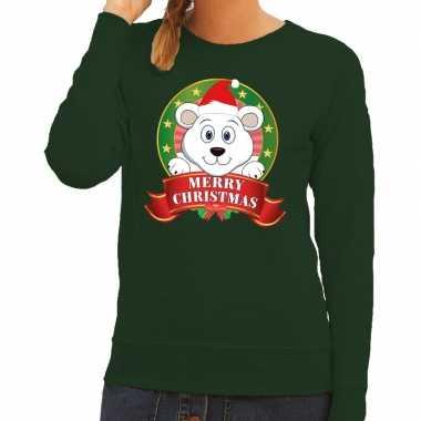 Foute foute kersttrui groen merry christmas ijsbeer voor dames