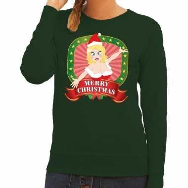 Foute foute kersttrui groen merry christmas kerstvrouw voor dames