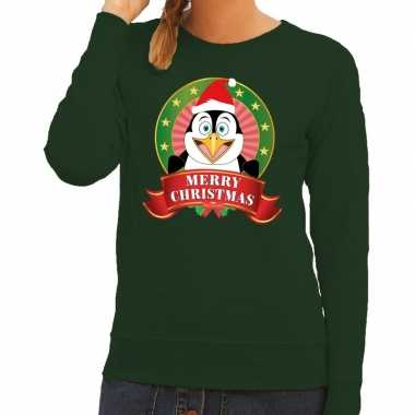 Foute foute kersttrui groen merry christmas pinguin voor dames