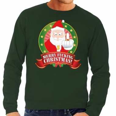 Foute foute kersttrui groen merry fucking christmas voor heren