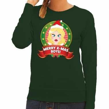 Foute foute kersttrui groen merry x mas boys voor dames