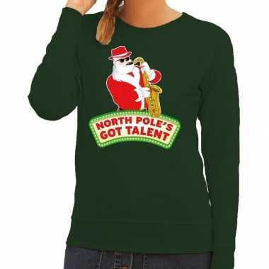 Foute foute kersttrui groen north poles got talent voor dames