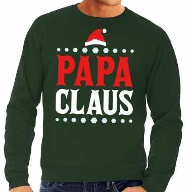Foute foute kersttrui groen papa claus voor heren