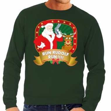 Foute foute kersttrui groen run rudolf run voor heren