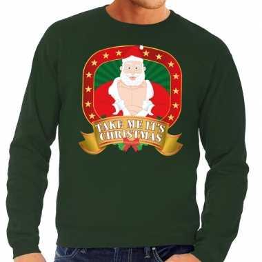 Foute foute kersttrui groen take me its christmas voor heren