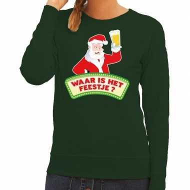 Foute foute kersttrui groen waar is het feestje voor dames