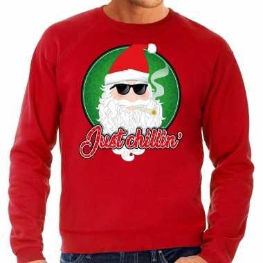 Foute foute kersttrui just chillin rood voor heren