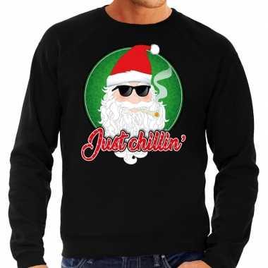 Foute foute kersttrui just chillin zwart voor heren