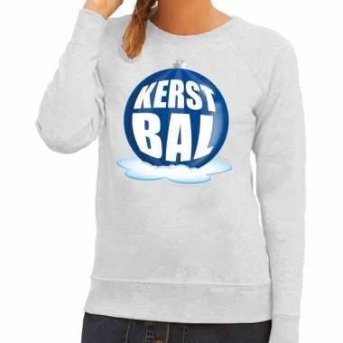 Foute foute kersttrui kerstbal blauw op grijze sweater voor dames