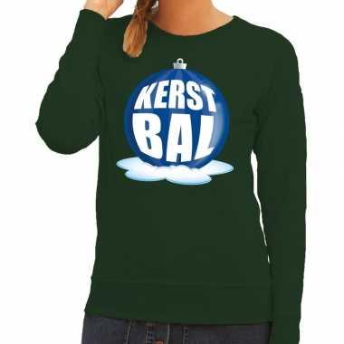 Foute foute kersttrui kerstbal blauw op groene sweater voor dames