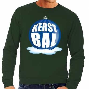 Foute foute kersttrui kerstbal blauw op groene sweater voor heren