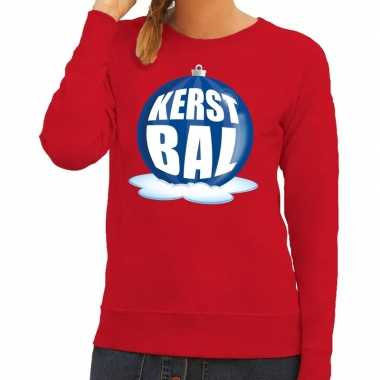 Foute foute kersttrui kerstbal blauw op rode sweater voor dames