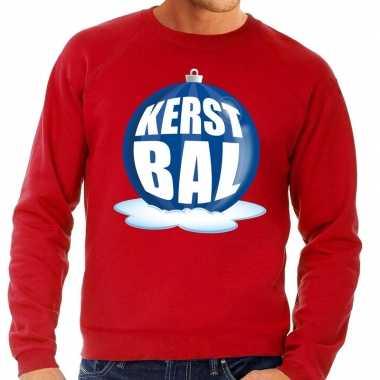 Foute foute kersttrui kerstbal blauw op rode sweater voor heren