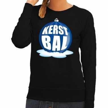 Foute foute kersttrui kerstbal blauw op zwarte sweater voor dames