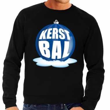 Foute foute kersttrui kerstbal blauw op zwarte sweater voor heren