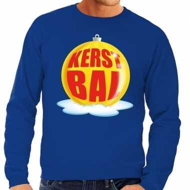 Foute foute kersttrui kerstbal geel op blauwe sweater voor heren