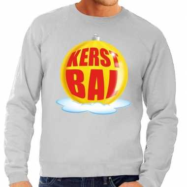 Foute foute kersttrui kerstbal geel op grijze sweater voor heren