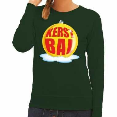 Foute foute kersttrui kerstbal geel op groene sweater voor dames