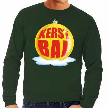 Foute foute kersttrui kerstbal geel op groene sweater voor heren
