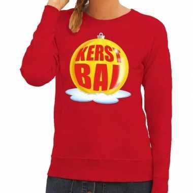 Foute foute kersttrui kerstbal geel op rode sweater voor dames