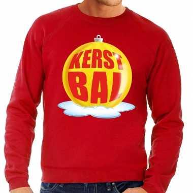 Foute foute kersttrui kerstbal geel op rode sweater voor heren