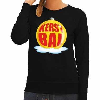 Foute foute kersttrui kerstbal geel op zwarte sweater voor dames