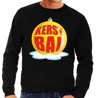 Foute foute kersttrui kerstbal geel op zwarte sweater voor heren
