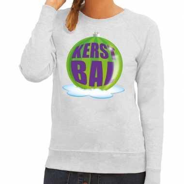 Foute foute kersttrui kerstbal groen op grijze sweater voor dames