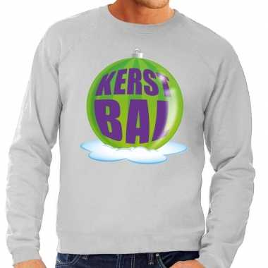 Foute foute kersttrui kerstbal groen op grijze sweater voor heren