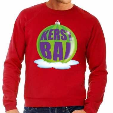 Foute foute kersttrui kerstbal groen op rode sweater voor heren