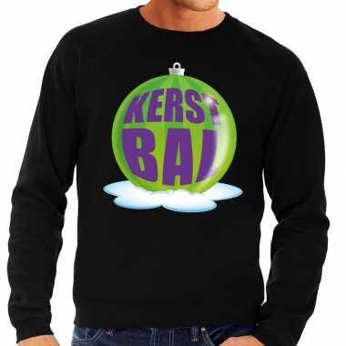 Foute foute kersttrui kerstbal groen op zwarte sweater voor heren