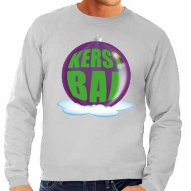 Foute foute kersttrui kerstbal paars op grijze sweater voor heren