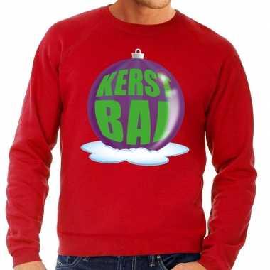 Foute foute kersttrui kerstbal paars op rode sweater voor heren
