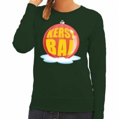Foute foute kersttrui kerstbal rood op groene sweater voor dames