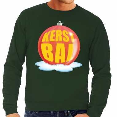 Foute foute kersttrui kerstbal rood op groene sweater voor heren