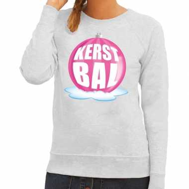 Foute foute kersttrui kerstbal roze op grijze sweater voor dames