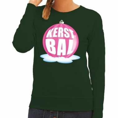Foute foute kersttrui kerstbal roze op groene sweater voor dames