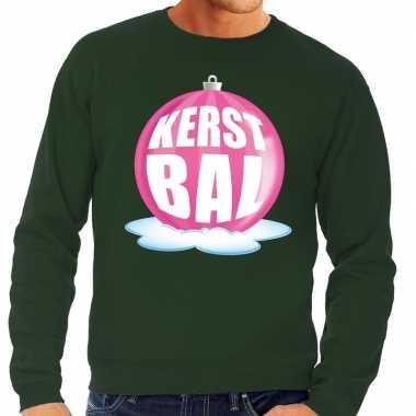 Foute foute kersttrui kerstbal roze op groene sweater voor heren