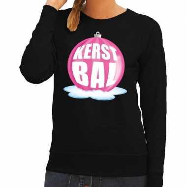 Foute foute kersttrui kerstbal roze op zwarte sweater voor dames