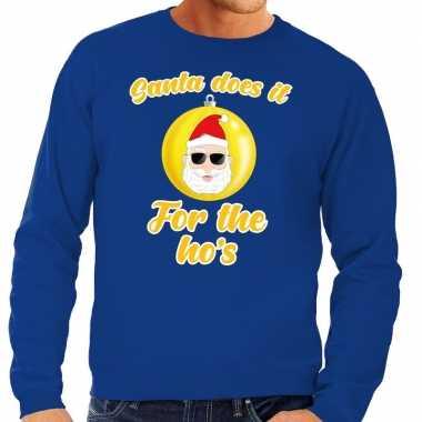 Foute foute kersttrui kerstman does it for the ho's blauw voor heren