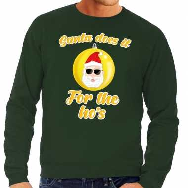 Foute foute kersttrui kerstman does it for the ho's groen voor heren