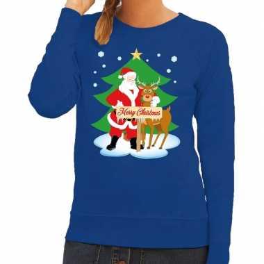 Foute foute kersttrui kerstman en rendier rudolf blauw dames