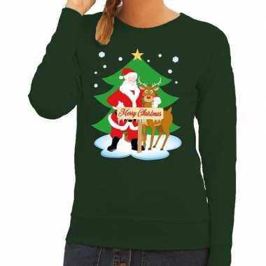 Foute foute kersttrui kerstman en rendier rudolf groen dames