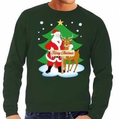 Foute foute kersttrui kerstman en rendier rudolf groen heren