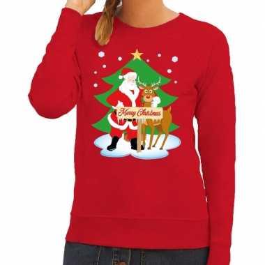 Foute foute kersttrui kerstman en rendier rudolf rood dames