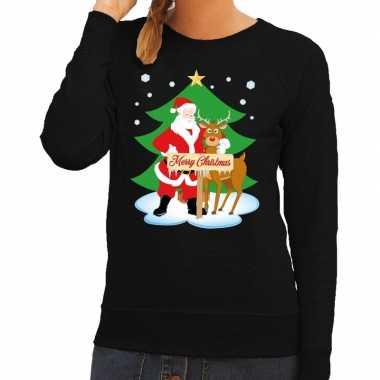 Foute foute kersttrui kerstman en rendier rudolf zwart dames