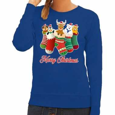 Foute foute kersttrui kerstsokken merry christmas blauw voor dames